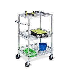 Rolling Utility Cart 3-Tier Heavy Duty Metal Trolley Shelf Storage Organizer
