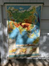 1958 AJ NYSTROM SCHOOL PULL DOWN MAP (ASIA) SUPER BRIGHT & CLEAN GREAT CONDITION
