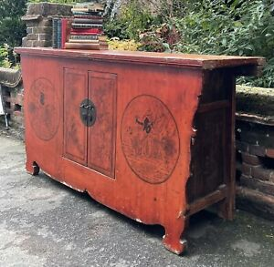 Antique Chinese Red Lacquered Sideboard With Cupboard & Internal Drawer