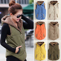 Womens Hooded Waistcoat Vest Winter Warm Casual Sleeveless Coat Jacket Plus Size
