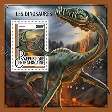 Central African Rep 2016 MNH Dinosaurs Mesosaurus Elasmosaurus 4v M/S Stamps
