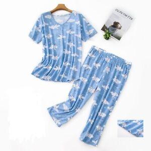 Comfy Pajama Set T-shirt and Capri Sleepwear Floral Print Loungewear Nightwear