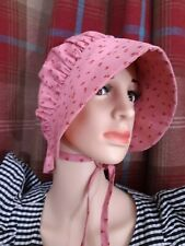 Handmade homespun primitive arts pink cotton 18th century bonnet headwear hat