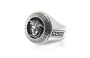 Sterling  Silver  (925)  Medusa  Signet  Key  Ring  !!     Brand  New  !!