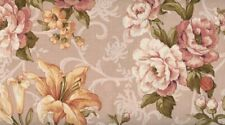 FAT QUARTER - 'LILY AND PEONY' LARGE FLOWERS PINK - SKIPPING STONES - CLOTHWORKS