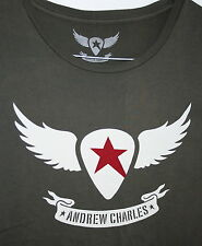 Retro Grey Andrew Charles Guitar Pick Wings Music Rock T-Shirt New Size Large