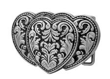 Silver Triple Hearts 3-D Belt Buckle on Black Enamel Western Cowgirl NEW