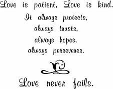 Love is patient never fails sticker, wall quote vinyl decal