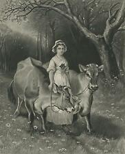 ANTIQUE CHANNEL ISLANDS MILKMAID DAIRY MAID JERSEY COW WILDFLOWERS MEADOW PRINT