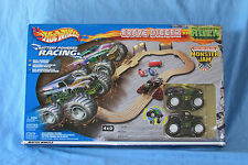RARE 2002 Hot Wheels Monster Jam Slot Car Racing Set Grave Digger vs Hulk