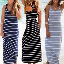 Fashion Womens Long Maxi Beach Dress Stripe Evening Party Casual Dress Summer UK