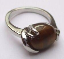 bague bijou vintage couleur argent pierre naturelle style œil de tigre T 55 1/2