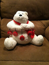 COCA-COLA MR POLAR BEAR W/ RED SCARF And 5 Magnet CLIPS PLUSH STUFFED ANIMAL 12""