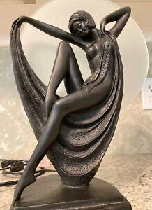 Art Deco Style Retro Lady Sculpture Table Lamp