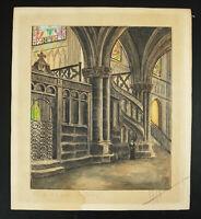 Dibujo Original Acuarela Basílica Notre Dama DE Espina Chalons-Champagne