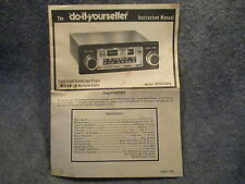 The Do It Yourselfer Instruction Manual Eight Track Player Model RR2014MPX Z338