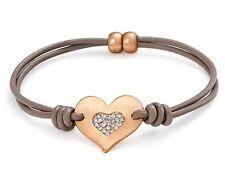 Matte Rose Gold Crystal Encrusted Heart Charm Leather Bracelet