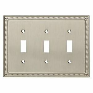 W35066-SN Satin Nickel Classic Beaded Triple Switch Cover Plate