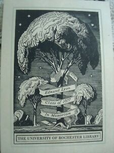 """Rockwell KENT -- EX LIBRIS -- """"University of Rochester Library"""""""