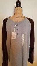 ST. JOHNS BAY Men's Polo Long Sleeve Gray Brown Jersey Cotton Shirt NWT Size 2XL
