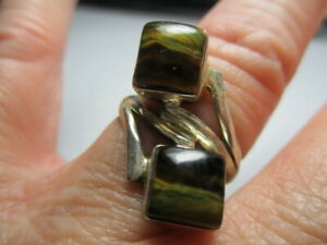 STERLING SILVER ESTATE VINTAGE DOUBLE BROWN TIGER EYE FAUX BYPASS RING SIZE 7