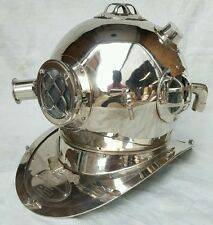 ANTIQUE U S NAVY MARK V  DIVING DIVERS HELMET QUALITY NICKEL FINISH