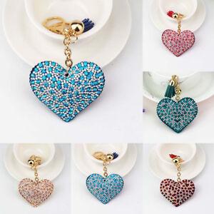 Cute Heart Key Chain Rhinestone Crystal Key Ring Holder Car Bag Pendant Gift New