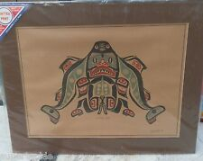 JIM GILBERT 1932 - 2000 artist signed Haida style print Sharkboy c1975