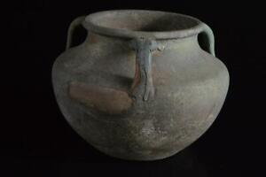 P5551: Japan Old Seto-ware Green glaze Shapely FLOWER VASE Ikebana Tea Ceremony