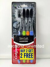3x Colgate Slim Soft Charcoal Toothbrush Pack of 4 Toothbrushes Assorted Colours