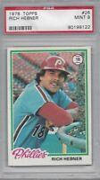 1978 Topps baseball card #26 Rich Hebner Philadelphia Phillies graded PSA 9 MINT