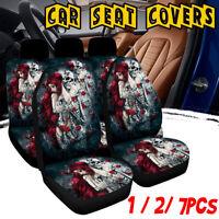 1/7Pcs Universal Car Seat Covers Full Set Seat Protector Skull & Women Printing