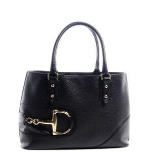 Gucci Black Pebbled Leather Hasler Horsebit Double Handled Boston Tote Bag Purse