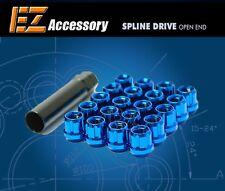 20 Pc Set Open End Spline Drive Lug Nuts   Blue   12x1.5 Dodge Ford T-Bird Focus