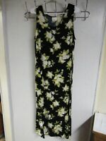 LADIES SIZE 12 DRESS GOWN BLACK FLORAL FLOOR LENGTH RAYON PULLOVER SPRING