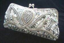 Silver Evening Handbag Beads Sequin Clutch Cocktail Purse Party Bridal Christmas