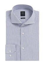 Hugo Boss Men's T-Christo' Blue Slim Fit Striped Cotton Dress Shirt 14.5, 33/34