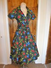Stunning black,red+green floral Retro vintage 50s swing/tea dress size 12