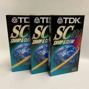 TDK 3 Pack VHS Tapes SC180 3hrs Sharp Clear New Sealed Retro Vintage E-180 Tape