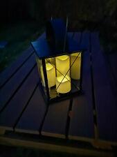 Metal Solar Lantern 34cm with 3 LED Candles Decor Light Garden Lighting