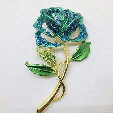Pretty TEAL ROSE BROOCH PIN Pave AB Crystal Rhinestone Enamel Gold Tone Jewelry
