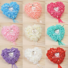 Romantic Rose Foam Flowers Wedding Heart Shaped Ring Box Pillow Cushion Decor