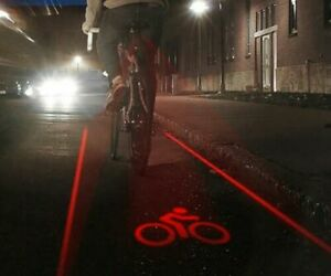 LED Laser Lane Bike Tail Light Safety Night High Visibility Cycle Projection NEW