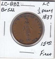 1837 Lower Canada 1/2 Penny Token - LC-8B2 - Fine+