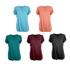 Camiseta de manga corta con cuello en v para mujer de algodon Tapas K2O1