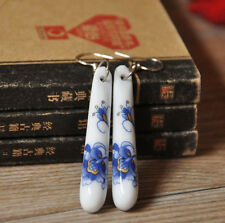 Peony Green Leaf Column Ethnic Porcelain Women Silver Ceramic Earrings