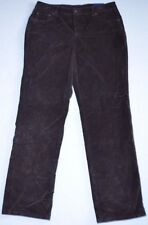 New Women's Basic Editions Brown Straight Leg Corduroy Stretch Jean Pants 10 AVG