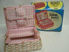 Vintage plastic Wicker Children's Sewing Basket - Pink