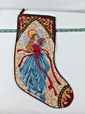 """Vintage Elegant18"""" Needlepoint Christmas Angel Stocking ~ Ships FREE"""