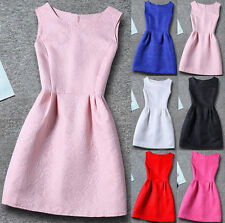 UK Kids Girls Summer Sleeveless Plain Casual Skater Prom Party Dress Age 5Y-13Y